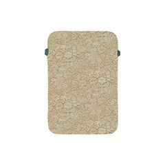 Old Floral Crochet Lace Pattern Beige Bleached Apple Ipad Mini Protective Soft Cases by EDDArt
