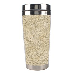 Old Floral Crochet Lace Pattern Beige Bleached Stainless Steel Travel Tumblers by EDDArt