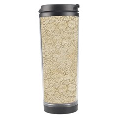 Old Floral Crochet Lace Pattern Beige Bleached Travel Tumbler by EDDArt