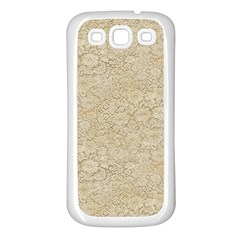 Old Floral Crochet Lace Pattern Beige Bleached Samsung Galaxy S3 Back Case (white) by EDDArt