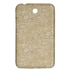 Old Floral Crochet Lace Pattern Beige Bleached Samsung Galaxy Tab 3 (7 ) P3200 Hardshell Case  by EDDArt