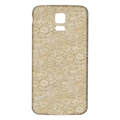 Old Floral Crochet Lace Pattern Beige Bleached Samsung Galaxy S5 Back Case (white) by EDDArt