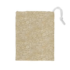Old Floral Crochet Lace Pattern Beige Bleached Drawstring Pouches (large)  by EDDArt