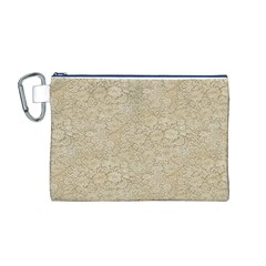 Old Floral Crochet Lace Pattern Beige Bleached Canvas Cosmetic Bag (m) by EDDArt