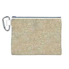 Old Floral Crochet Lace Pattern Beige Bleached Canvas Cosmetic Bag (l) by EDDArt