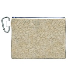 Old Floral Crochet Lace Pattern Beige Bleached Canvas Cosmetic Bag (xl) by EDDArt