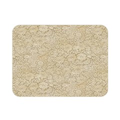 Old Floral Crochet Lace Pattern Beige Bleached Double Sided Flano Blanket (mini)  by EDDArt