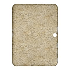 Old Floral Crochet Lace Pattern Beige Bleached Samsung Galaxy Tab 4 (10 1 ) Hardshell Case  by EDDArt