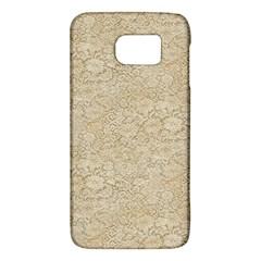 Old Floral Crochet Lace Pattern Beige Bleached Galaxy S6 by EDDArt