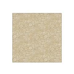 Old Floral Crochet Lace Pattern Beige Bleached Satin Bandana Scarf by EDDArt