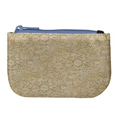 Old Floral Crochet Lace Pattern Beige Bleached Large Coin Purse by EDDArt