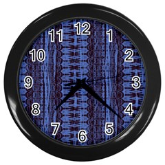 Wrinkly Batik Pattern   Blue Black Wall Clocks (black) by EDDArt