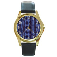 Wrinkly Batik Pattern   Blue Black Round Gold Metal Watch by EDDArt