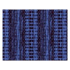 Wrinkly Batik Pattern   Blue Black Rectangular Jigsaw Puzzl by EDDArt