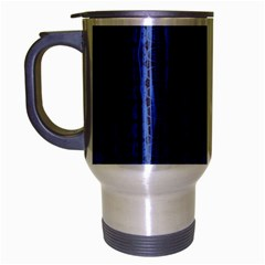 Wrinkly Batik Pattern   Blue Black Travel Mug (silver Gray) by EDDArt