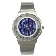 Wrinkly Batik Pattern   Blue Black Stainless Steel Watch by EDDArt