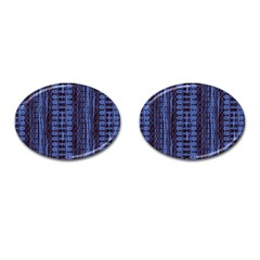 Wrinkly Batik Pattern   Blue Black Cufflinks (oval) by EDDArt