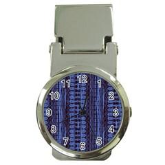 Wrinkly Batik Pattern   Blue Black Money Clip Watches by EDDArt