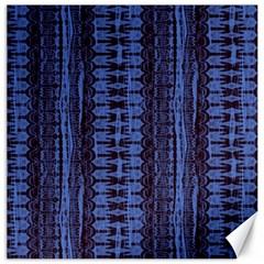 Wrinkly Batik Pattern   Blue Black Canvas 16  X 16   by EDDArt