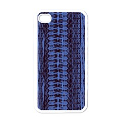 Wrinkly Batik Pattern   Blue Black Apple Iphone 4 Case (white) by EDDArt