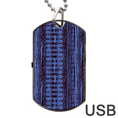 Wrinkly Batik Pattern   Blue Black Dog Tag Usb Flash (one Side) by EDDArt