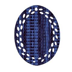 Wrinkly Batik Pattern   Blue Black Oval Filigree Ornament (two Sides) by EDDArt