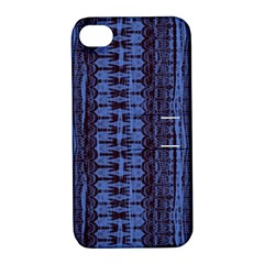Wrinkly Batik Pattern   Blue Black Apple Iphone 4/4s Hardshell Case With Stand by EDDArt