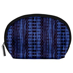 Wrinkly Batik Pattern   Blue Black Accessory Pouches (large)  by EDDArt