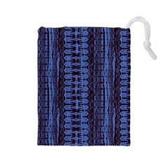 Wrinkly Batik Pattern   Blue Black Drawstring Pouches (large)  by EDDArt