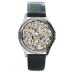 Colorful Retro Style Letters Numbers Stars Round Metal Watch by EDDArt