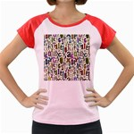 Colorful Retro Style Letters Numbers Stars Women s Cap Sleeve T-Shirt