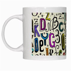 Colorful Retro Style Letters Numbers Stars White Mugs by EDDArt