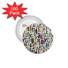 Colorful Retro Style Letters Numbers Stars 1 75  Buttons (100 Pack)  by EDDArt