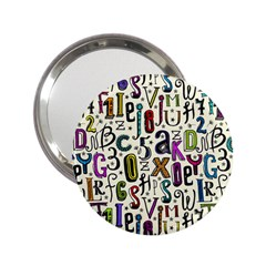 Colorful Retro Style Letters Numbers Stars 2 25  Handbag Mirrors by EDDArt