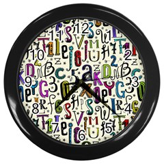 Colorful Retro Style Letters Numbers Stars Wall Clocks (black) by EDDArt