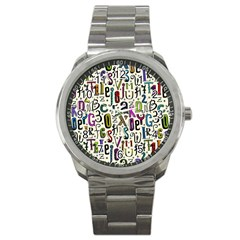 Colorful Retro Style Letters Numbers Stars Sport Metal Watch by EDDArt