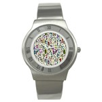Colorful Retro Style Letters Numbers Stars Stainless Steel Watch