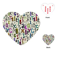 Colorful Retro Style Letters Numbers Stars Playing Cards (heart)  by EDDArt