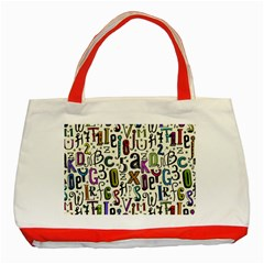 Colorful Retro Style Letters Numbers Stars Classic Tote Bag (red) by EDDArt
