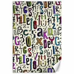 Colorful Retro Style Letters Numbers Stars Canvas 12  X 18   by EDDArt