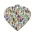 Colorful Retro Style Letters Numbers Stars Dog Tag Heart (Two Sides)