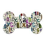 Colorful Retro Style Letters Numbers Stars Dog Tag Bone (Two Sides)