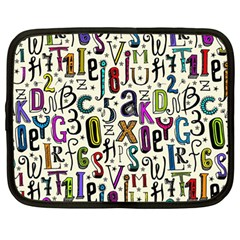 Colorful Retro Style Letters Numbers Stars Netbook Case (large) by EDDArt