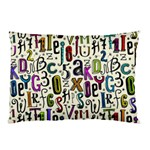 Colorful Retro Style Letters Numbers Stars Pillow Case