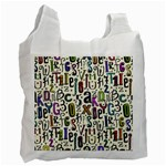 Colorful Retro Style Letters Numbers Stars Recycle Bag (Two Side)