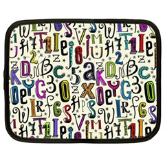 Colorful Retro Style Letters Numbers Stars Netbook Case (xxl)  by EDDArt