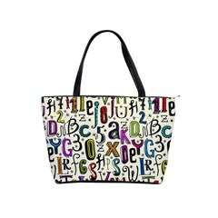 Colorful Retro Style Letters Numbers Stars Shoulder Handbags by EDDArt
