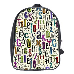 Colorful Retro Style Letters Numbers Stars School Bags(large)  by EDDArt