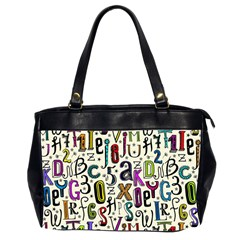 Colorful Retro Style Letters Numbers Stars Office Handbags (2 Sides)  by EDDArt