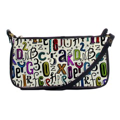 Colorful Retro Style Letters Numbers Stars Shoulder Clutch Bags by EDDArt